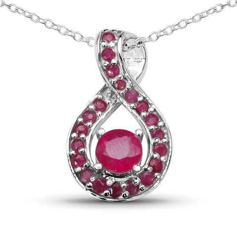 Malaika 1.80 Carat Genuine Glass Filled Ruby and Ruby .925 Sterling Silver Pendant