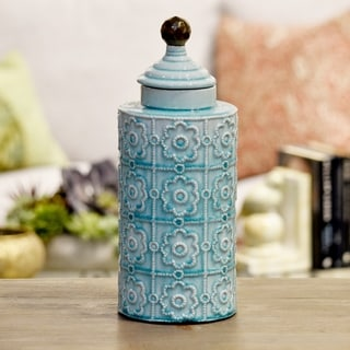 Glossy Light Blue Finish Ceramic Cylindrical Canister with Embossed Pattern, Step Lid and Spherical Handle Large