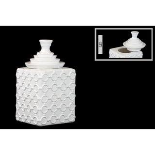 Ceramic Square Canister with Embossed Ring Pattern and Step Lid SM Gloss Finish White