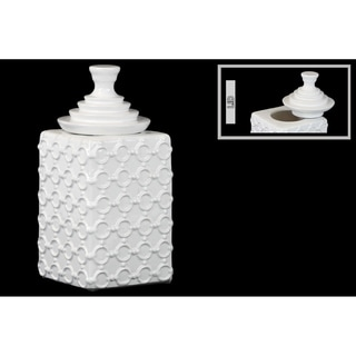 Ceramic Square Canister with Embossed Ring Pattern and Step Lid LG Gloss Finish White