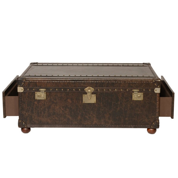 Coffee Table Leather Drawers: Shop Lazzaro Leather Campania 2 Drawers Steamer Brompton
