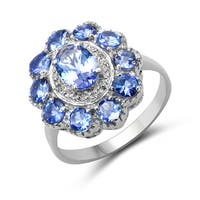 Malaika 1.74 Carat Genuine Tanzanite and White Diamond .925 Sterling Silver Ring