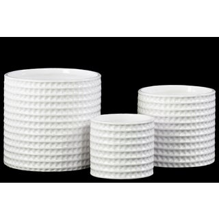Ceramic Gloss Finish White Round Dimpled Flower Pots (Set of Three)