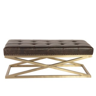 Lazzaro Leather Peyton Retangular Goldtone Base Tufted Brompton Chocolate Cocktail Table