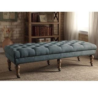 Linon Larissa 62-Inch Bench - Light Blue