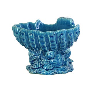 Ceramic Gloss Finish Turquoise Open Valve Clam Shellfish Bowl on Conch Shell Base