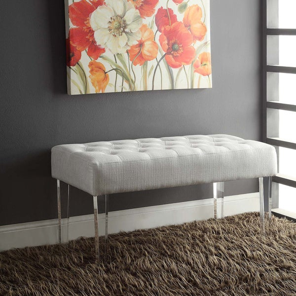 Silver Orchid Jordan White Crystal Bench. Opens flyout.