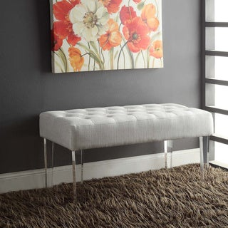 Linon Liza Crystal Bench - White