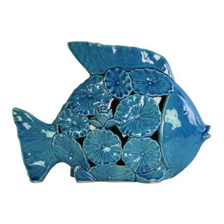 Ceramic Gloss Finish Blue Large Fish Figurine with Floral Cutout Design