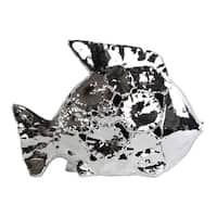 Large Ceramic Polished Chrome Finished Fish Figurine with Floral Cutout Design