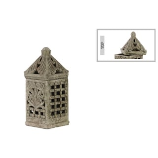 Small Cement Concrete Grey Finished Square Bird Cage with Sculpted Swirl Cutout Design