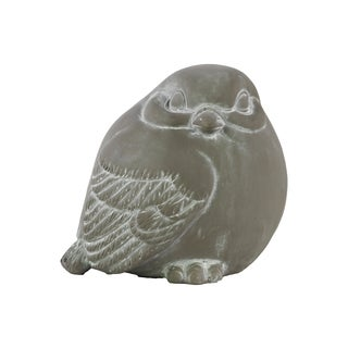 Cement Washed Concrete Finish Gray Bird Figurine Looking Right