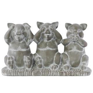 Cement Concrete Finish Gray Sitting Pigs No Evil (Hear/See/Speak) Figurine on Base