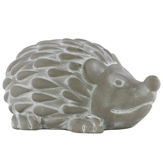 Cement Washed Concrete Finish Gray Large Standing Hedgehog Figurine