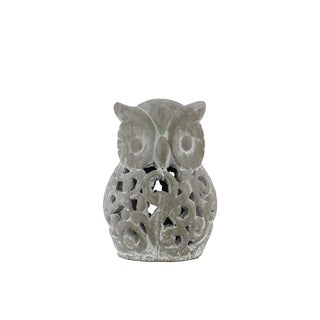 Cement Washed Concrete Finish Gray Small Owl Figurine with Cutout Design