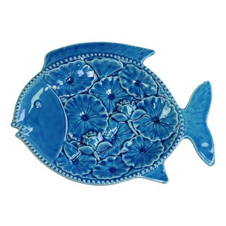 Ceramic Gloss Finish Blue Fish Platter with Floral Design