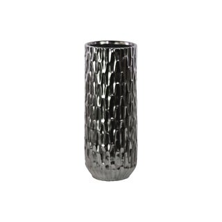 Black Chrome Silver Matte Finish Ceramic Cylindrical Vase with Embossed Hexagonal Design