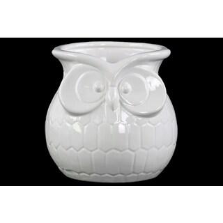 Glossy White Finish Ceramic Owl Flower Pot