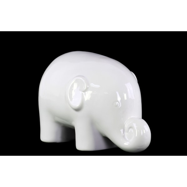 Glossy White Finish Ceramic Standing Elephant Figurine Small