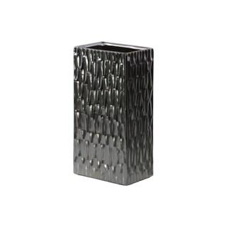 Ceramic Matte Finish Black Chrome Silver Tall Large Rectangular Vase with Embossed Hexagonal Design