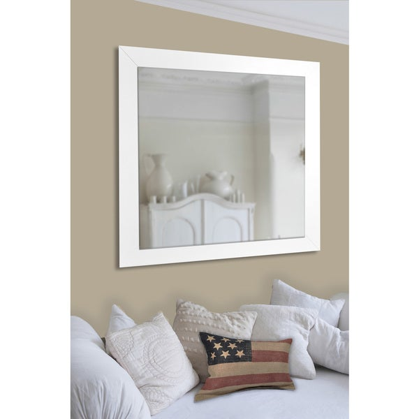 American Made Rayne White Satin Wide Extra Tall Floor Mirror