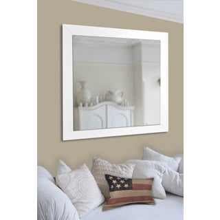 American Made Rayne White Satin Wide Wall/ Vanity Mirror