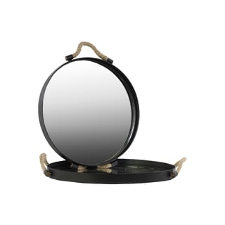 Metal Coated Finish Black Round Tray with Mirror Surface and Rope Handles (Set of Two)
