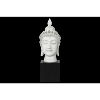 Resin Gloss Finish White Buddha Head with Pointed Ushnisha and Floral Head Gear on Base