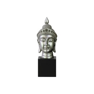 Resin Gloss Finish Silver Buddha Head with Pointed Ushnisha and Floral Head Gear on Base
