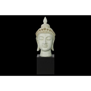 Resin Gloss Finish Cream Buddha Head with Pointed Ushnisha and Floral Head Gear on Base
