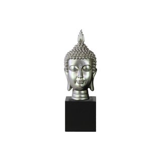 Resin Gloss Finish Silver Buddha Head with Pointed Ushnisha on Base