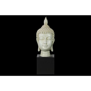Resin Gloss Finish Cream Buddha Head with Pointed Ushnisha on Base