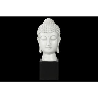 Resin Gloss Finish White Buddha Head with Bun Ushnisha on Base
