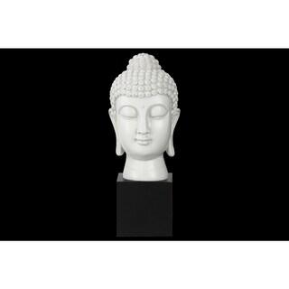 Resin Gloss Finish White Buddha Head with Bun Ushnisha on Base