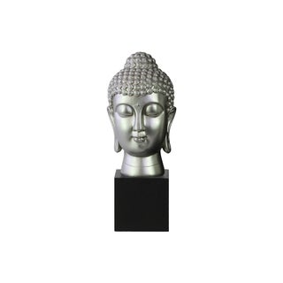 Resin Gloss Finish Silver Buddha Head with Bun Ushnisha on Base