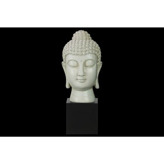Resin Gloss Finish Cream Buddha Head with Bun Ushnisha on Base