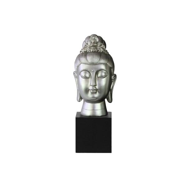 Resin Gloss Finish Silver Buddha Head with Floral Ushnisha on Base