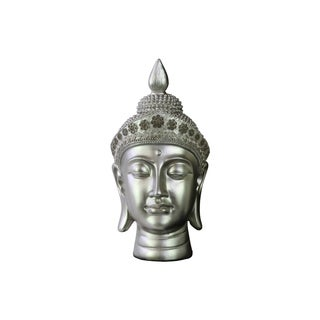 Glossy Silver Finish Resin Buddha Head with Pointed Ushnisha and Floral Headwear