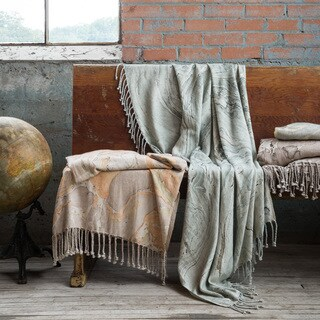Handcrafted Marbled Throw Blanket With Fringe
