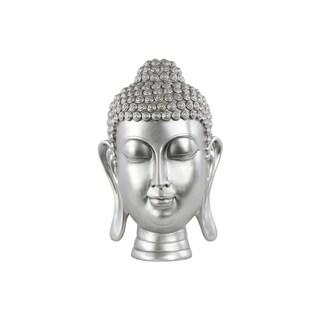 Glossy Silver Finish Resin Buddha Head with Bun Ushnisha