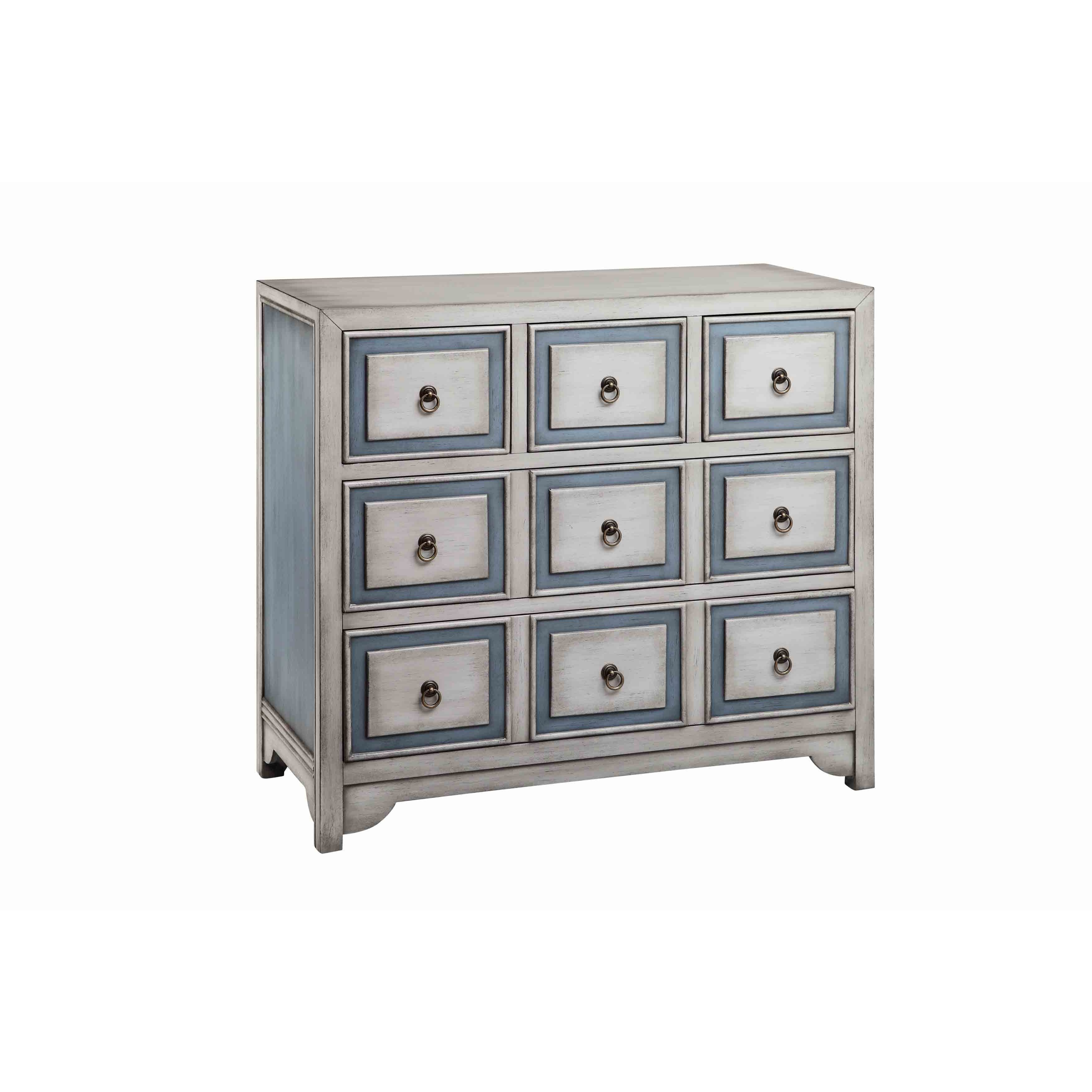 Conway Five Drawer Accent Chest (Polar White/Smoky Blue)