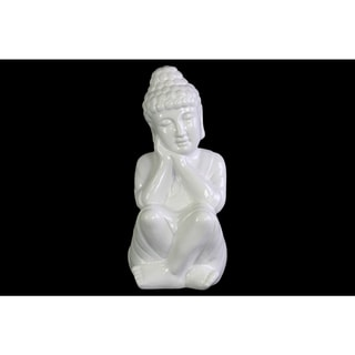 Ceramic Gloss Finish White Sitting Buddha Figurine with Rounded Ushnisha and Head on Hands
