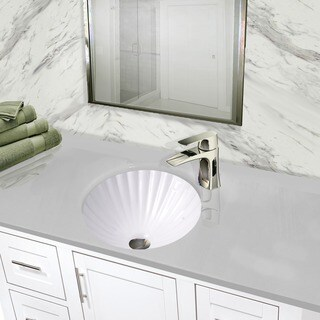 Highpoint Collection 12 Inch Round White Bathroom Vanity Undermount Sink  With Scalloped Basin