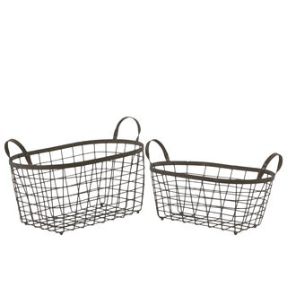 Metal Rectangular Wire Basket with Handles and Mesh Body Set of Two Coated Finish Bronze
