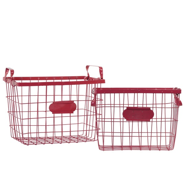 Metal Rectangular Wire Basket with Mesh Sides, Handles and Card Holders Set of Two Coated Finish Red