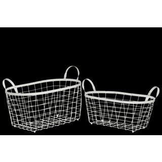Metal Rectangular Wire Basket with Handles and Mesh Body Set of Two Coated Finish White