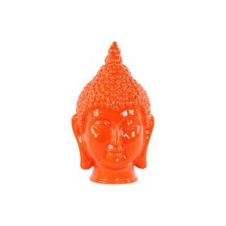 Glossy Orange Finish Ceramic Buddha Head with Pointed Ushnisha