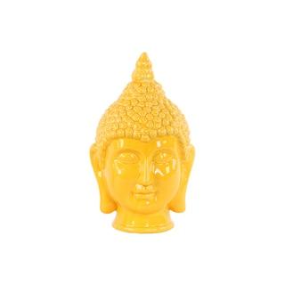 Glossy Yellow Finish Ceramic Buddha Head with Pointed Ushnisha