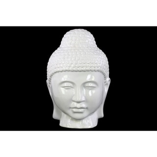 Glossy White Finish Ceramic Buddha Head with Rounded Ushnisha