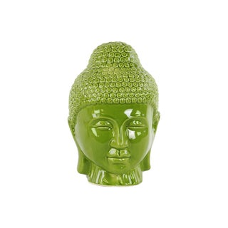Glossy Green Finish Ceramic Buddha Head with Rounded Ushnisha